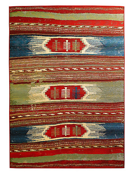 helline home - Tapis tissé de style kilim à motif multicolore