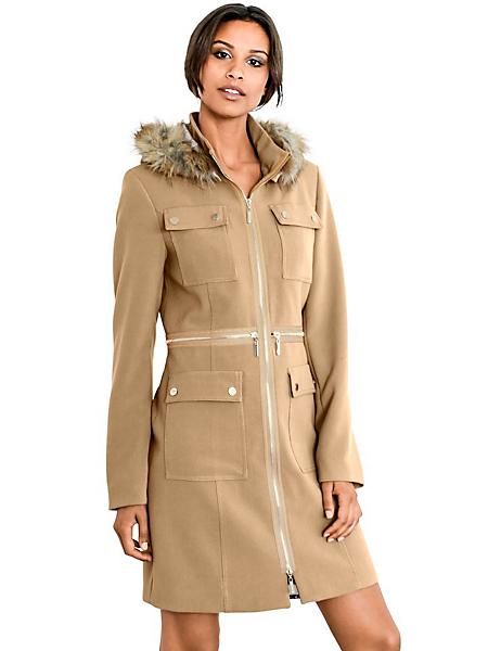 Mandarin - Parka femme longue à zip et capuche en fausse fourrure