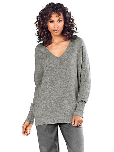 B.C. Best Connections - Pull-over cachemire fin à col V pour femme, style ample