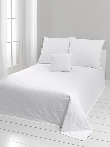 helline home - Couvre lit uni 100% coton avec fines étoiles tissées