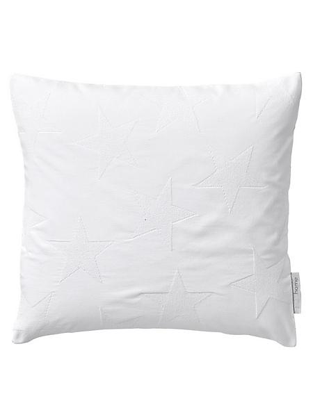 helline home - Housse de coussin unie 100% coton avec étoiles tissées