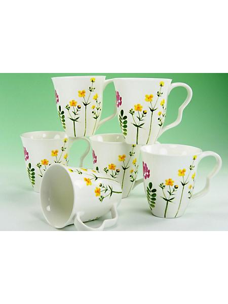 CREATABLE - Mugs à café en porcelaine CreaTable »Eva fleurs des champs« (6 pièces)