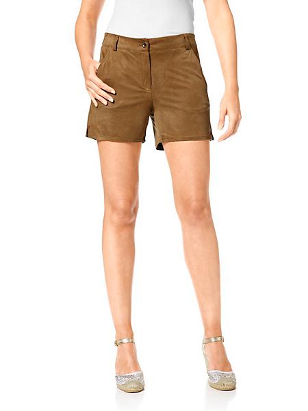 helline - Short pour femme en tissu souple imitation cuir velours