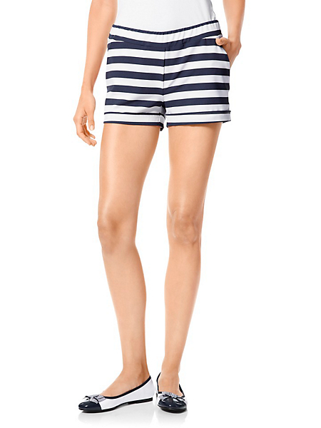 helline - Short court tendance pour femme, rayures style marin