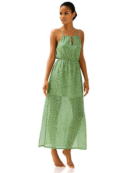 helline - Robe longue imprimée en voile vert à fines bretelles