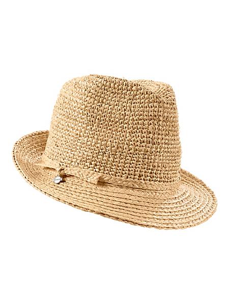 Seeberger - Chapeau de paille épaisse style tricoté forme panama