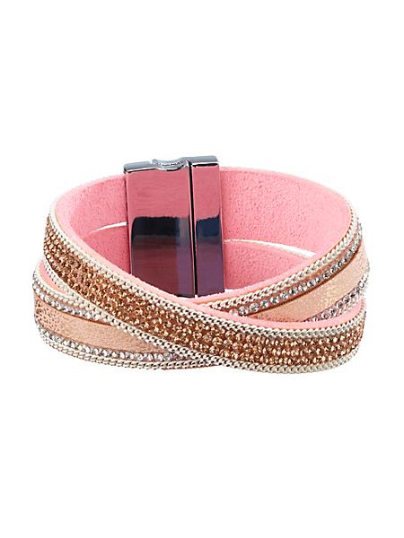 helline - Bracelet rose deux rangs en métal et pierres de verre