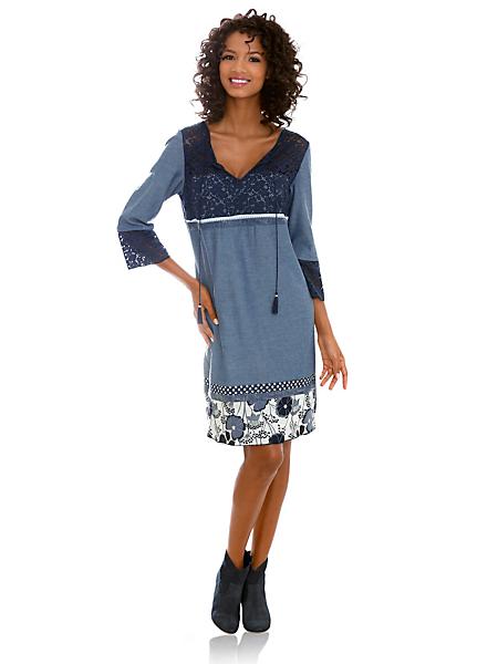 Linea Tesini - Robe fluide en dentelle style patchwork, lacets à nouer
