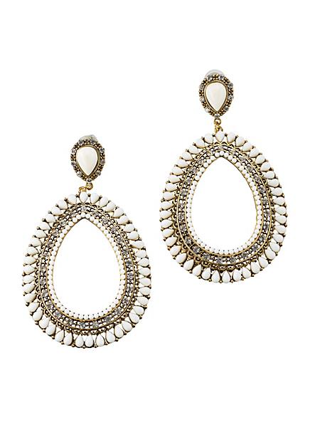 helline - Boucles d'oreilles pendantes en métal ornées de perles