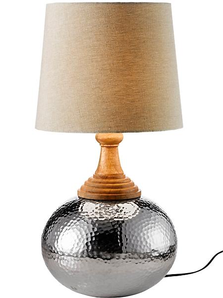 helline home - Lampe à poser en métal martelé design de forme ronde
