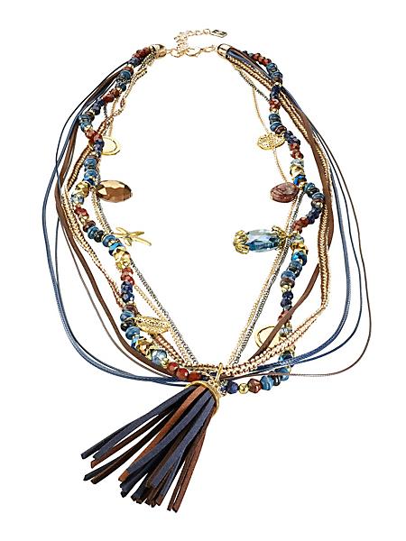 helline - Collier sautoir perles, breloques et pendentif pompon