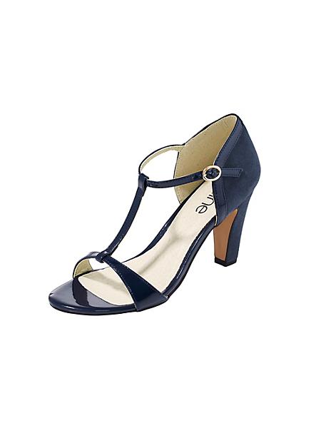 helline - Sandalettes femme en cuir velours et synthétique verni