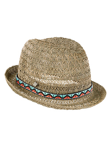 Seeberger - Chapeau de paille ajourée, forme arrondie ruban coloré