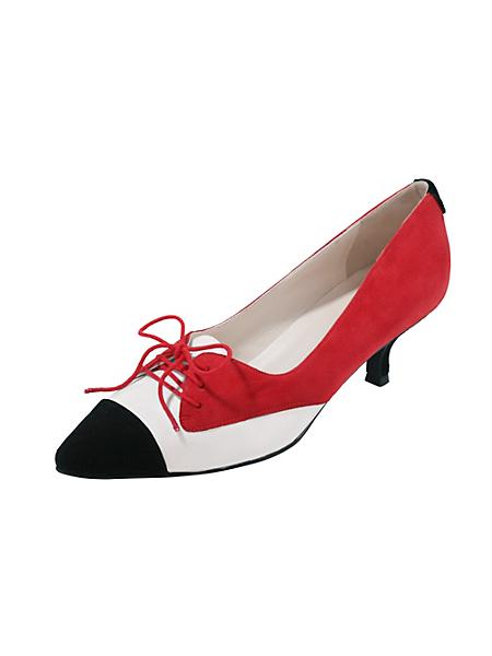 helline - Escarpins à petit talon rouge et blanc et lacet déco