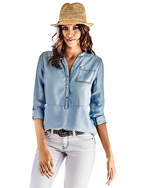 B.C. Best Connections - Blouse fluide en jean à poche et manches retroussées