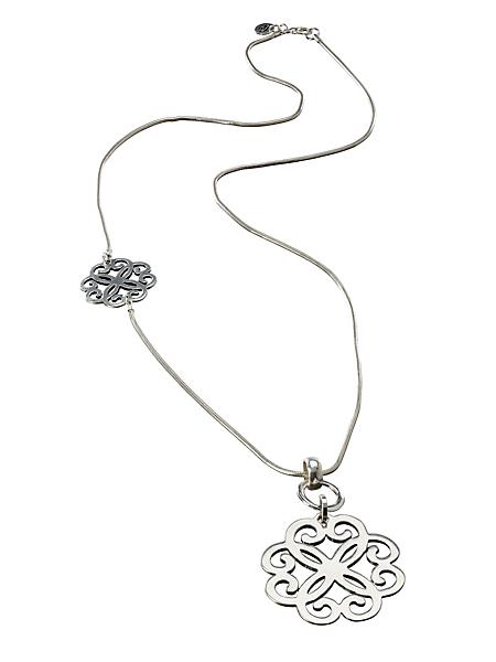 helline - Collier sautoir argenté à pendentif ajouré original