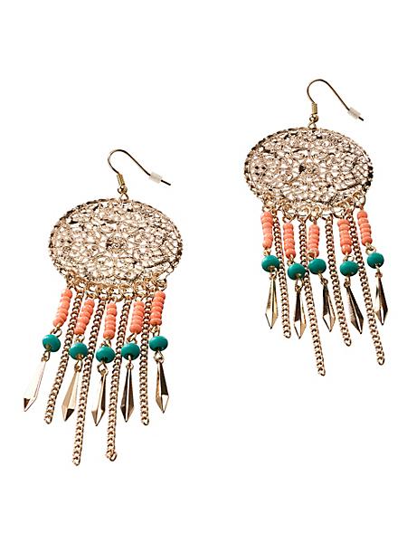 helline - Boucles d'oreilles pendantes rondes colorées bohème