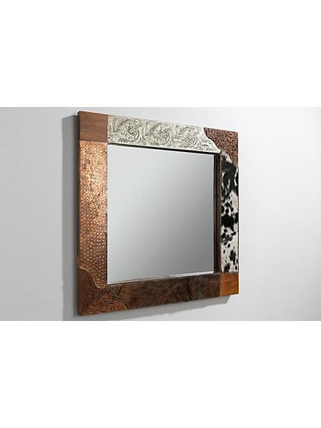 helline home - Miroir, cadre en bois travaillé avec diverses matières