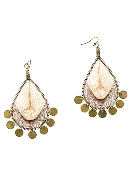 helline - Boucles d'oreilles pendantes métal, tissu et breloques
