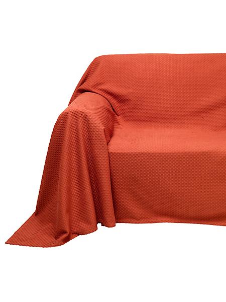 helline home - Jeté de fauteuil et de canapé uni en coton gaufré