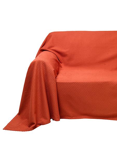 helline home - Jeté de fauteuil et de canapé unie en coton gaufré