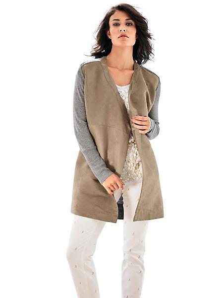 Patrizia Dini - Veste ouverte femme aspect peau et tricot gris chiné