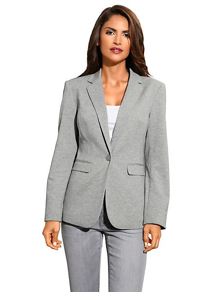 Patrizia Dini - Blazer en jersey femme, forme ajustée, poches à rabat