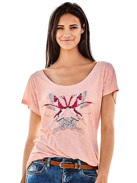 B.C. Best Connections - T-shirt femme imprimé flamants rose en paillettes