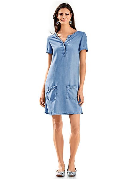 B.C. Best Connections - Robe courte en jean fluide à poches, col tusinien
