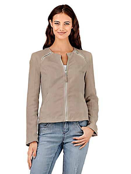 B.C. Best Connections - Veste courte imitation daim pour femme à zips originaux
