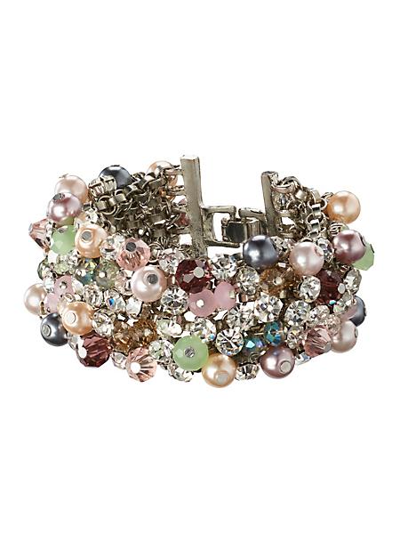 helline - Bracelet en métal et pierres de verre multicolores