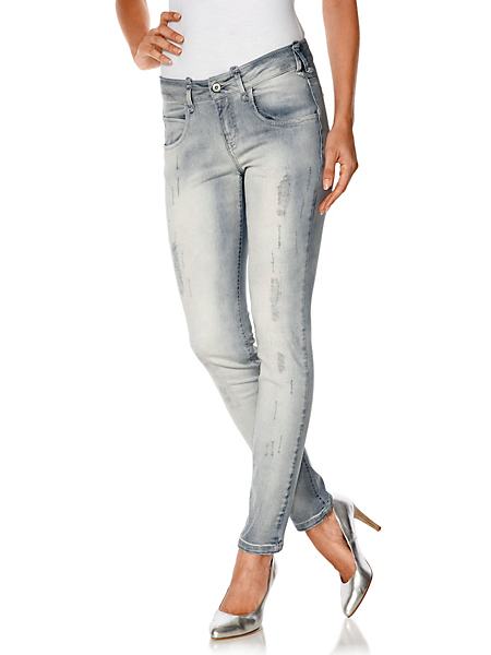 B.C. Best Connections - Jean slim fit aspect usé, coupe féminine cinq poches
