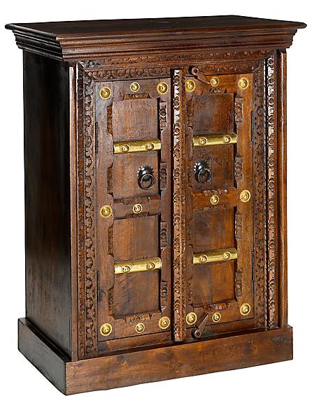 helline home - Commode chiffonnier bois, sculptures et détails métal