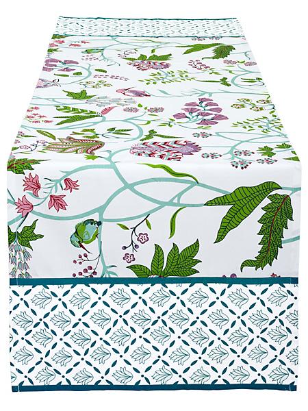 helline home - Chemin de table opaque en coton bio à motif fleuri