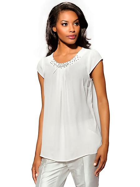 Patrizia Dini - Tunique blouse longue en voile, col en strass élégant