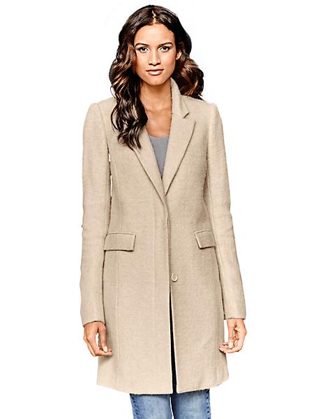 B.C. Best Connections - Manteau long en laine beige style caban, taille cintrée