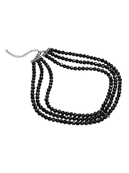 helline - Collier multi rangs chic en perles de verre facettées