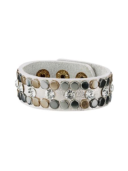 helline - Bracelet large tendance en cuir, rivets métal et strass