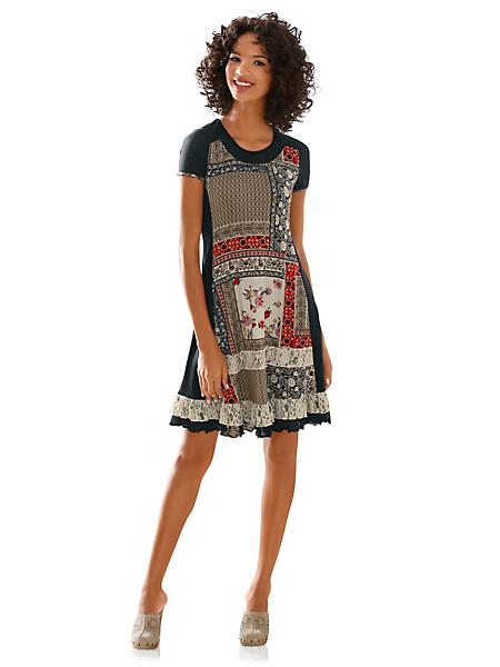 Linea Tesini - Robe patineuse imprimée en patchwork et dentelle
