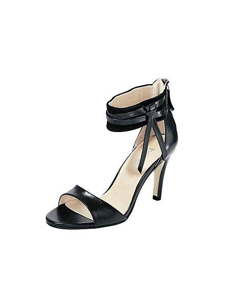 helline - Sandalettes à talons aiguilles, cuir nappa et velours
