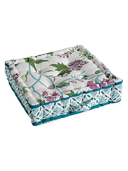 helline home - Coussin d'assise en coton bio, imprimé floral élégant