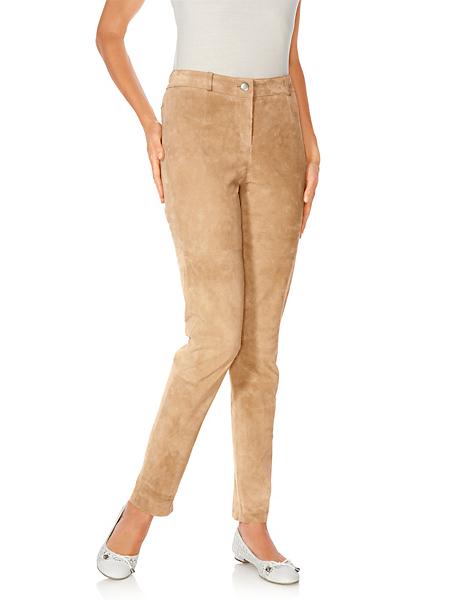 Linea Tesini - Pantalon en cuir velours tendance marron pour femme