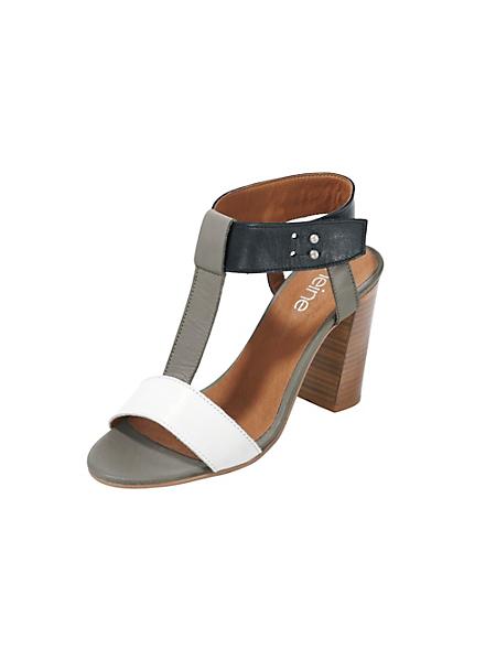 helline - Sandalettes à talons avec bride en T en cuir nappa