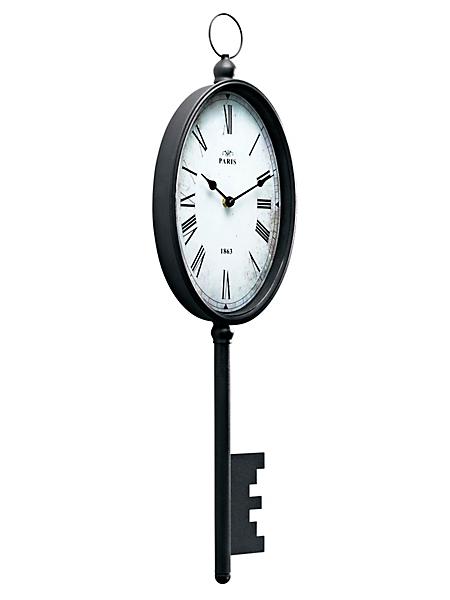 helline home - Horloge murale noire en forme de clé et fer forgé