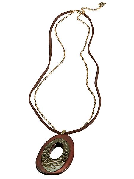 helline - Collier sautoir en bois et métal, à pendentif ovale