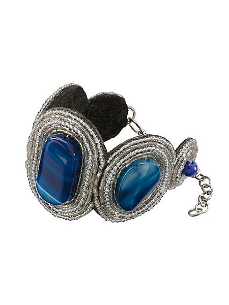 helline - Bracelet large tendance en métal et pierres, pour femme
