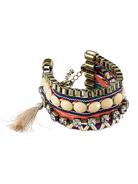 helline - Bracelet large en métal, textile et pierres en verre