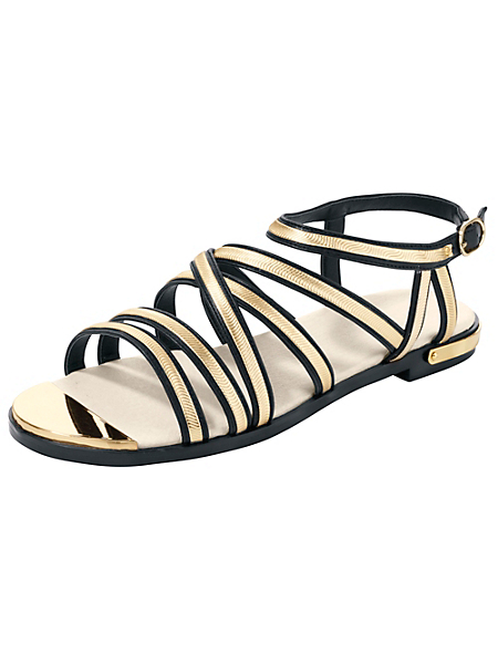 helline - Sandalettes plates en cuir nappa , fines brides dorées