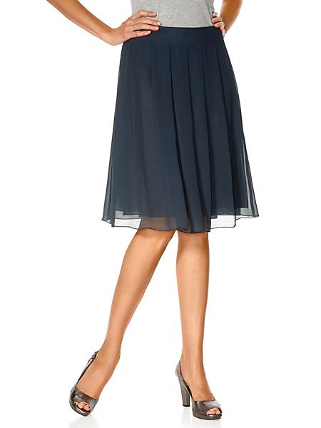Patrizia Dini - Jupe plissée unie en voile, coupe mi-longue élégante