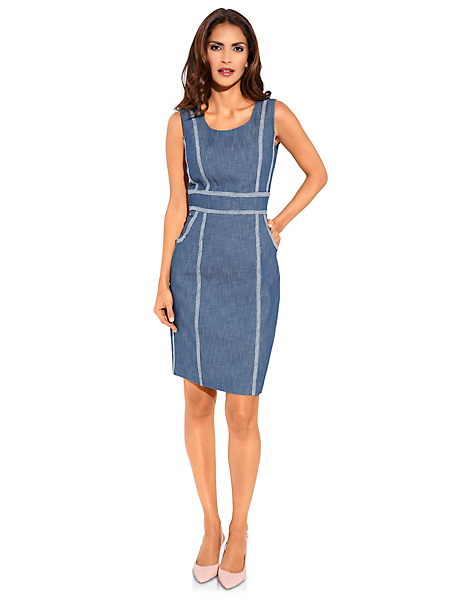 Ashley Brooke - Robe fourreau en jean, coutures contrastantes et poches